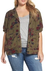 Lucky Brand Plus Size Women's Floral Print Military Jacket