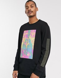 Weekday Amped Graphic Long Sleeve Top In Black
