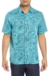 Kahala Kupu Regular Fit Print Sport Shirt Pacific Blue