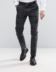Asos Skinny Smart Trousers In Black Satin With Jacquard Detail Black