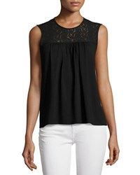 1.State Sleeveless Lace Yoke Top Black
