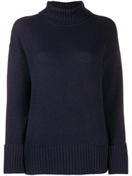 Lamberto Losani Turtle Neck Jumper Blue