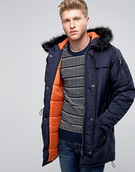 Another Influence Hooded Parka Jacket With Faux Fur Hood Navy