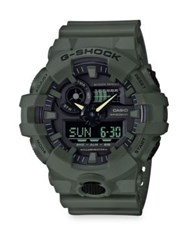 G Shock Front Button Strap Watch Black Green