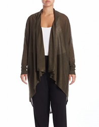Eileen Fisher Plus Plus Oversized Open Front Cardigan Green