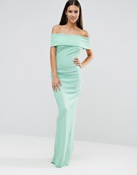 City Goddess Bandeau Maxi Dress With Split Detail Mint Green