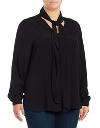 Lord And Taylor Plus Blouse With Scarf Black