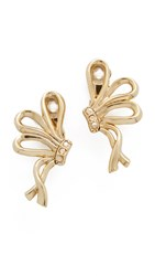 Oscar De La Renta Bow Clip On Earrings Light Gold