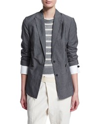 Brunello Cucinelli Notched Collar Wool Linen Jacket Charcoal Grey Men's Size 46