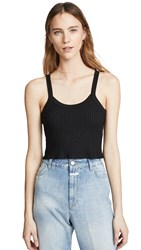 David Lerner Cropped Aiden Tank Solid Black