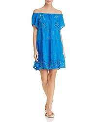 Johnny Was Convertible Tiered Eyelet Tunic Cobalt