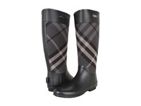Burberry Check Panel Rainboots Charcoal Women's Rain Boots Gray
