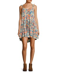 Free People Scoopneck Floral Print Dress Orange Combo