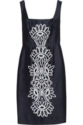 Tory Burch Lily Embroidered Silk Dress Navy
