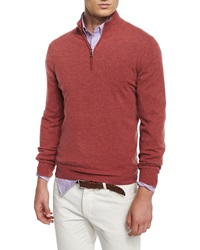 Brunello Cucinelli Cashmere Blend Half Zip Sweater Red