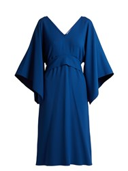 Osman Summer Tie Waist Crepe Dress Blue