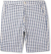Oliver Spencer Ebley Checked Woven Cotton Shorts Blue