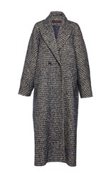 Martin Grant Oversized Tweed Men's Coat Navy