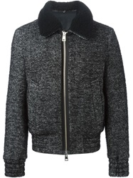 Ami Alexandre Mattiussi Shearling Collar Tweed Jacket Black