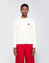 Comme Des Garcons Red Heart Play Sweatshirt Ivory