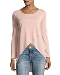 Casual Couture Cross Front Long Sleeve Top Pink