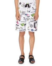 Kenzo Cartoon Logo Print Sweat Shorts White