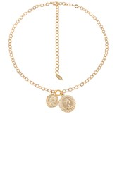 Ettika Double Coin Necklace Metallic Gold