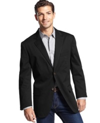 Tasso Elba Big And Tall Cotton Twill Core Blazer Black