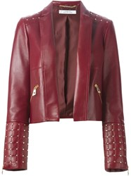 Versace Collection Studded Leather Jacket Red