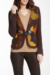 Insight Patchwork Print Wool Blend And Knit Jacket Brown