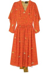 Loewe Paula's Ibiza Paneled Printed Crepe De Chine Dress Orange
