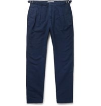 Orlebar Brown Navy Caldwell Tapered Pleated Cotton And Linen Blend Trousers Navy