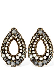 Etro Crystal And Faux Pearl Clip On Earrings Black