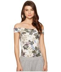 Free People Off The Shoulder Printed Bodysuit Cream Women's Jumpsuit And Rompers One Piece Beige