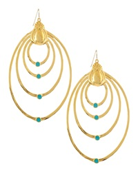 Devon Leigh 18K Gold Plate Teardrop Earrings With Turquoise