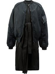 Juun.J Long Layered Bomber Jacket Nylon Polyester Viscose Black