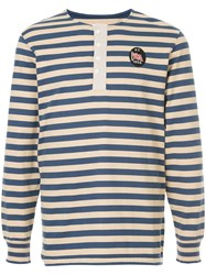 Kent And Curwen Striped Longlseeved T Shirt Blue
