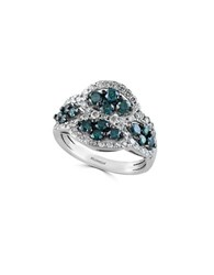 Effy Final Call Diamond And 14K White Gold Ring Blue