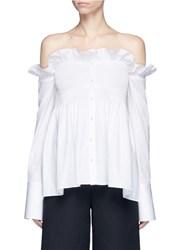 Victoria Beckham Ruffle Off Shoulder Smocked Poplin Shirt White