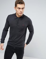 Fred Perry Knit Polo Tramline Tipped Long Sleeve In Grey Marl Charcoal Marl
