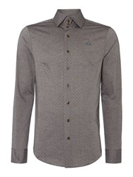 Vivienne Westwood Regular Fit Polka Dot 3 Button Collar Shirt Grey