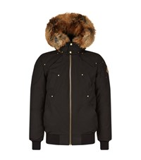 Moose Knuckles Red Fox Fur Bomber Jacket Male Black
