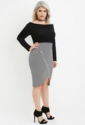 Forever 21 Plus Size Origami Hem Striped Skirt Black White