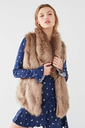 Urban Outfitters Faux Fur Collared Vest Honey