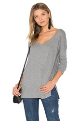 Bobi Light Weight Jersey V Neck Tunic Gray