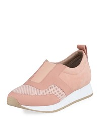 Donald J Pliner Rie Mixed Leather Sneakers Blush