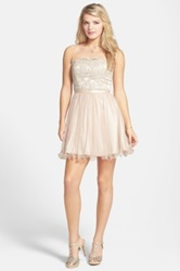 Hailey Logan 'Stacy' Strapless Glitterand Lace Skater Dress Juniors White