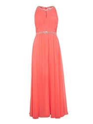Gina Bacconi Chiffon Beaded Dress With Ruched Bodice Coral