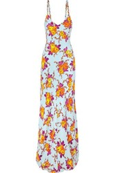 Rebecca De Ravenel Braided Floral Print Silk Twill Maxi Dress Orange