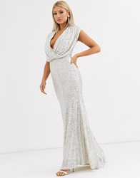 Jarlo Wrap Front Sequin Gown In Silver